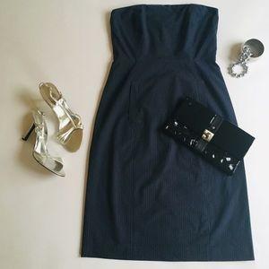J. Crew Navy Pinstripe Strapless Dress, Size 6